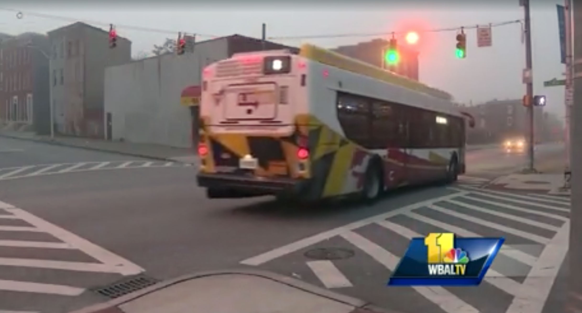 Bus travels through West Baltimore
